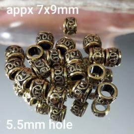 GD 002: Big Hole Bead Metal GoldColor, appx 7x9mm