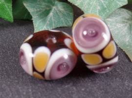 IKPR0339: Pair Purple & Brown Bubbles, appx 9x15mm