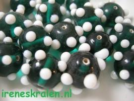 GG 006  Ronde kraal met witte bulten groen/aqua, 11x15mm