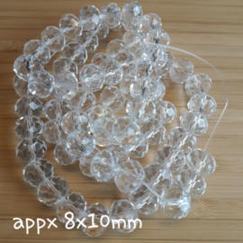 Gwit 006: String facetted beads Crystal 8x10mm, 70 pcs