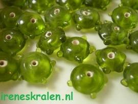 GG 158  Spacers Bumpy Moss, 7x12mm, lampwork