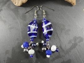 BL0004: Blue & White Earrings