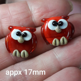IKRD0010: Pair Owls Red, appx 17mm DoubleSided