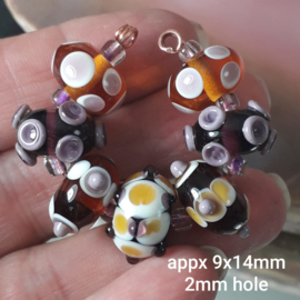 IKBR0003:Beadset Brown-Purple, appx 9x14mm (2mm hole)