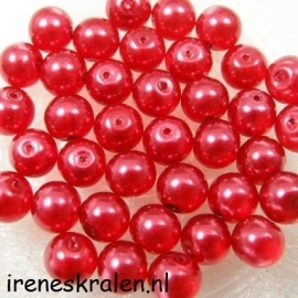Parel Rood 8mm Transparant
