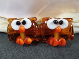 Set of 2 Owls Mini MediumTopaz & Orange Doublesided, appx 13mm