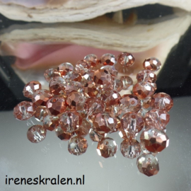 GB 008: Facetkraal met mooie glans, ca 6x8mm bronskleur/rose