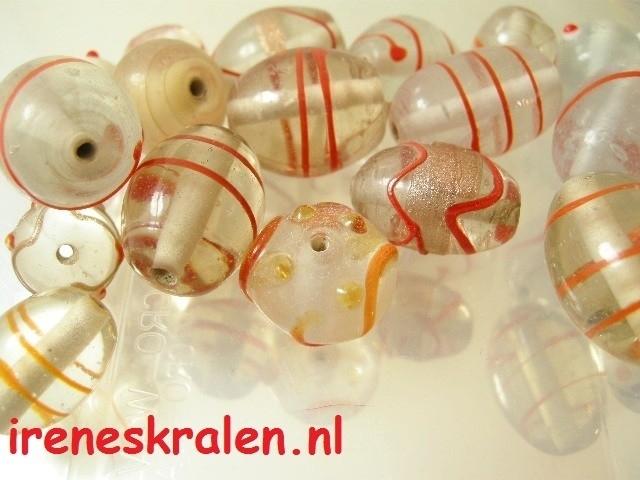 Grd 004 Kralenmix ` Aquarel Red` , ca. 100 gram