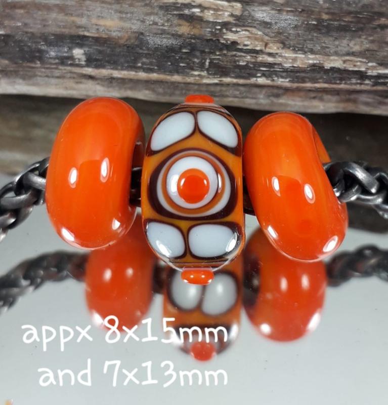 IKOR057: Set of 3x Big Hole Bead Orange, 8x15mm and 7x13mm (5mm hole)