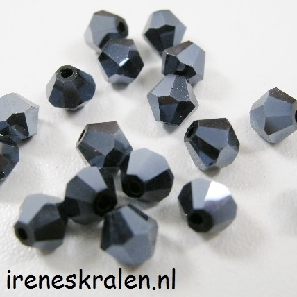 Gzwt 008 Kristal Konisch geslepen/Toupille, 6mm, Jet Hematite