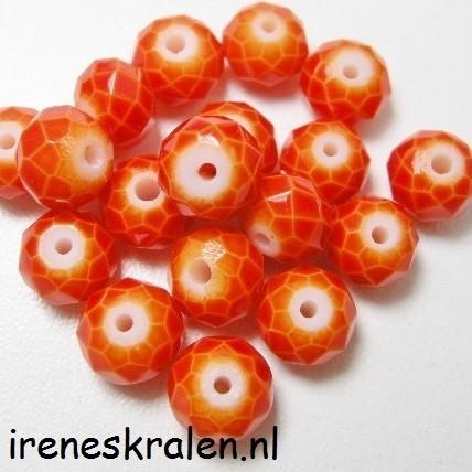 GO 008 Facetkraal oranje whiteheart, rondell 6x8mm