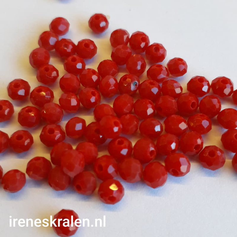 Grd 013: Faceted Glass Red, appx 3x4mm