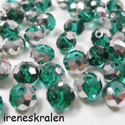 GG 120: Facetkraal Emerald/Turkoois/Zilver, 6x8mm