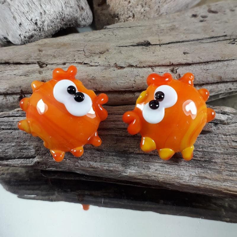 IKOR009: DuoSet Krabben oranje, ca 19mm
