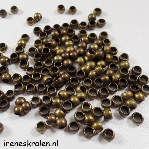 Knijpkralen bronskleur 3mm, per ca.50 stuks