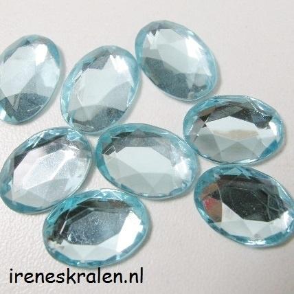 Plaksteen Acryl Facet Ovaal Aqua 14x10mm