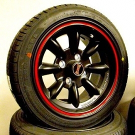 "7x13"" Ultralight Satin Black & Red Yokohama banden"