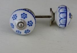 Brocante knop oud hollands blauw