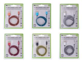 Tekmee data/oplaadkabel nylon 2A 1mtr Micro USB (30)