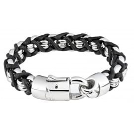 Zippo Steel Braided Leather Bracelet - 18 x 1.1 x 1