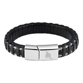 Zippo Steel Braided Leather Bracelet - 22 x 1.4 x 0.8cm