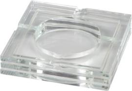 Sigaren asbak Glas vierkant 3x14,5x14,5cm.