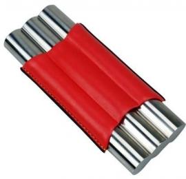 Sigarenkoker metaal kunstleder 3st rood