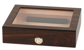 Humidor Walnoot met glas 6,5x26x22 cm