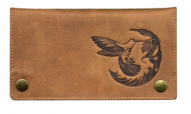 "Luxe Leder Shagetui Hunter brown ""Vogel & bloem"""
