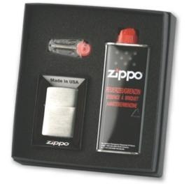 Zippo geschenkset incl Zippo chrom br. benzine + vuursteen