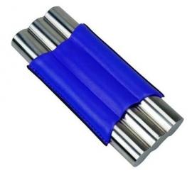 Sigarenkoker metaal kunstleder 3st blauw