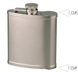 Flask met  2 cups chroom 6oz/ 180ml