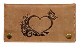 """Luxe Leder Shagetui Hunter brown """"hart & vlinder"""""""
