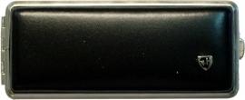 Luxe sigaretten koker leder zwart/chroom 100mm & wilde cigarillo`s
