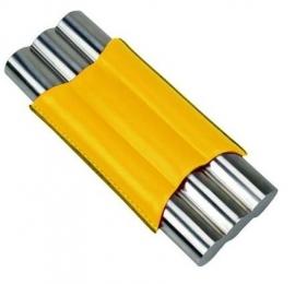 Sigarenkoker metaal kunstleder 3st geel
