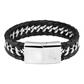 Zippo Steel Braided Leather Bracelet - 22 x 1.8 x 0.7