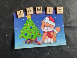 Jamie the Cat Kerst 2020 ansichtkaart 2