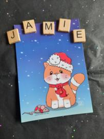 Jamie the Cat Kerst 2020 ansichtkaart 1