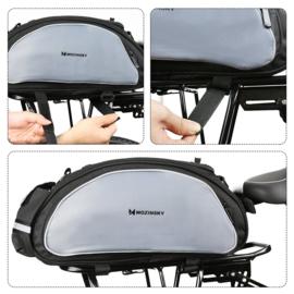 Wozinsky fietstas bagagedrager 13L met opbergvakjes zwart