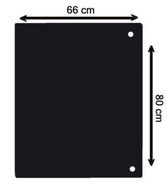 Nr 32-500/ G 2mm Staalvloerplaat rechthoek - zwart 660 x 800