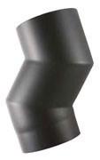Dikwandig 2 mm bocht 45° graden  125 mm  Zwart Voorzien van hittebestendige Senotherm lak