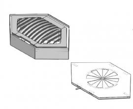 Verzonken bak met Stookrooster en luchttoevoer In de Hoek/Ster 55