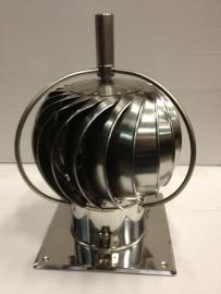 TURBOWENT Draaikap 150mm met draailager buiten de kap met bodemplaat