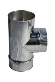 EWØ130mm  - T-stuk 90° met deksel en klemband #CAM181
