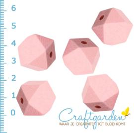Houten - kraal - veel hoeken - licht roze  -  20 mm - 5 stuks