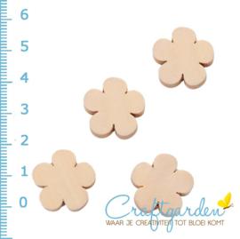 Houten kraal -  bloem - 2 cm - 4 stuks