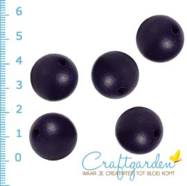 Houten - kraal - rond - navy blauw  -  20 mm - 5 stuks