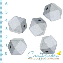 Houten - kraal - veel hoeken - zilver  -  20 mm - 5 stuks