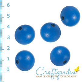 Houten - kraal - rond - kobalt blauw  -  20 mm - 5 stuks