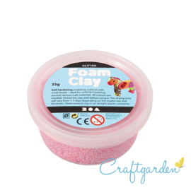 Foam Clay - glitter  - licht roze - 35 gram